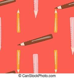 coloré, modèle, orange, seamless, pencils., vecteur