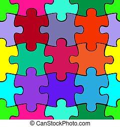 coloré, modèle, puzzle, puzzle, seamless, morceaux, arrière-plan., gabarit