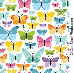 coloré, modèle, seamless, papillons, lot, amusement