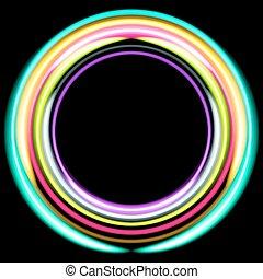 coloré, néon, disco, arrière-plan., rings., retro