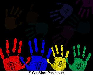coloré, noir, isolé, caractères, main