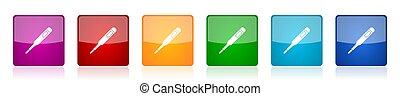 coloré, numérique, vecteur, illustrations, toile, monde médical, lustré, 6, carrée, mobile, conception, applications, options, ensemble, icône, thermomètre, électronique