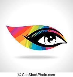 coloré, oeil, créatif