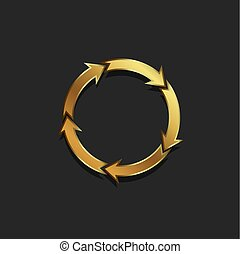 coloré, or, flèches, illustration, vecteur, cercle, redo
