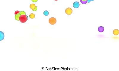 coloré, orbes, animation, vidéo, lustré, tomber