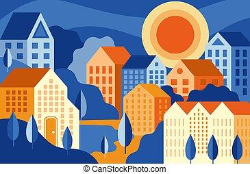 coloré, parc, ville bâtiments, paysage