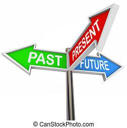 coloré, -, passé, 3, avenir, flèche, signes, présent