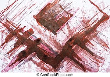 coloré, peint, lignes, aquarelle, fond, rouges