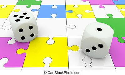 coloré, puzzle, dés