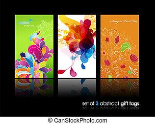 coloré, résumé, éclaboussure, ensemble, cadeau, cartes, réflexion., fleur