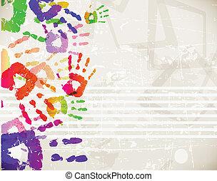 coloré, résumé, handprint, conception, retro, gabarit