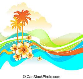 coloré, résumé, illustration, exotique, vecteur, fleurs