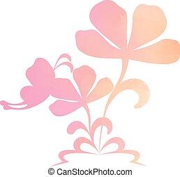 coloré, résumé, isolé, fond, fleurs blanches