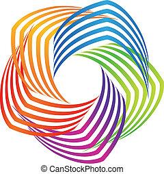coloré, résumé, logo, icône, swirly