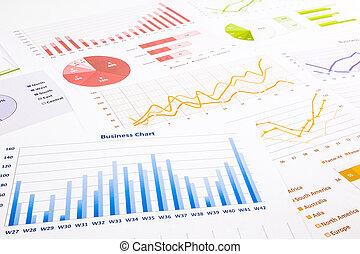 coloré, recherche, graphiques, diagrammes, commercialisation, business, annuel