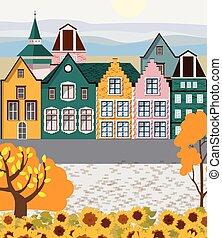 coloré, retro, bâtiments, ville, vieux