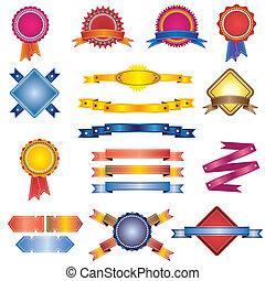 coloré, rubans, ensemble, étiquettes, insignes, vendange