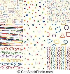 coloré, seamless, main, motifs, dessiné, enfants