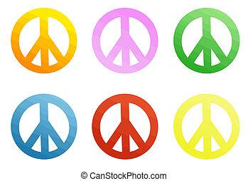coloré, signes paix