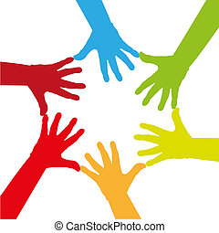 coloré, six, -, illustration, toucher, ensemble, mains