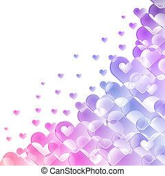 coloré, space., forme, fond, cœurs, blanc, copie