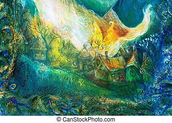 coloré, structuré, conte, village, forêt, fée, peinture