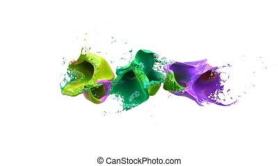coloré, sur, canal, slowmotion., eclabousse, fond, alpha, blanc, explose, liquidsd