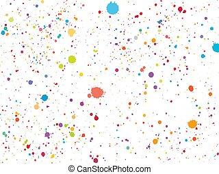 coloré, sur, isolé, arrière-plan., confetti, poussière, blanc, rond
