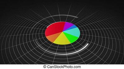 coloré, tarte, 3d, diagramme