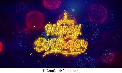 coloré, texte, feux artifice, salutation, particules, éclat, anniversaire, vous, heureux