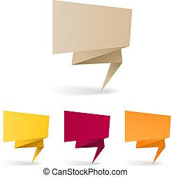 coloré, texte, ici, polygonal, banners., endroit, origami, ton
