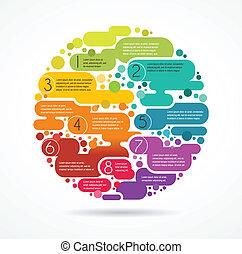 coloré, texte, résumé, espace, fond, infographics