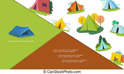 coloré, touriste, tentes, composition