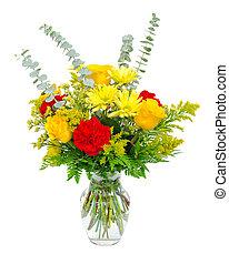 coloré, vase, isolé, bouquet, arrangement, white., fleur