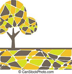 coloré, vecteur, automne, arbre.