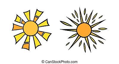 coloré, vecteur, blanc, handdrawn, briller, jaune, soleils, set., griffonnage, style., illustration, rayons, noir