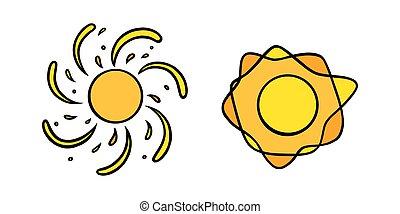 coloré, vecteur, blanc, handdrawn, briller, jaune, soleils, set., griffonnage, style., tourbillonner, illustration, rayons, noir