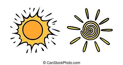 coloré, vecteur, blanc, handdrawn, briller, jaune, soleils, set., tourbillonné, griffonnage, style., illustration, rayons, noir