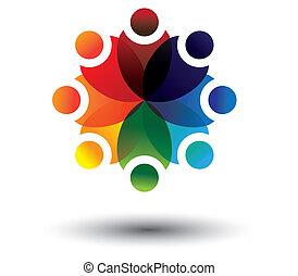 coloré, vecteur, cercle, concept, gosses, école, apprentissage