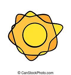 coloré, vecteur, soleil, blanc, handdrawn, sun., jaune, briller, griffonnage, style., illustration, rayons, noir