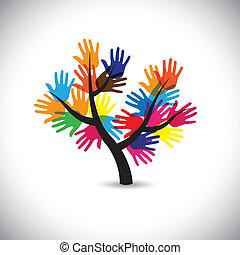 coloré, &, vecto, feuilles, main, tree-, paume, fleurs, estampiller