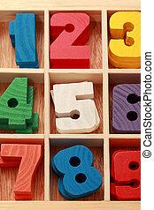 coloré, vertical, bois, âge, jeu, nombres, signes, junior, math