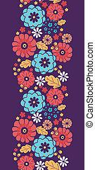 coloré, vertical, bouquet, modèle, seamless, fleurs, frontière