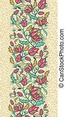 coloré, vertical, modèle, feuilles, seamless, fleurs, frontière