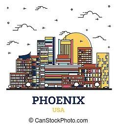 coloré, ville, phénix, contour, white., bâtiments, usa, arizona, horizon, isolé, moderne