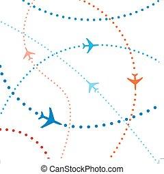 coloré, voyage, air, vols, trafic, ligne aérienne, avions