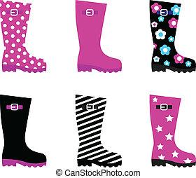 coloré, wellies, frais, pluie, isolé, bottes, &, blanc