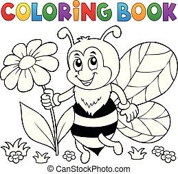 coloration, abeille, thème, livre, 4, heureux