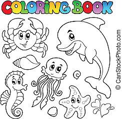 coloration, animaux 2, divers, mer, livre