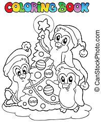 coloration, arbre, livre, pingouins